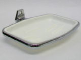 Chrome and White Bathroom Soap Dish Holder - 50103335
